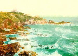 海岸の水彩画