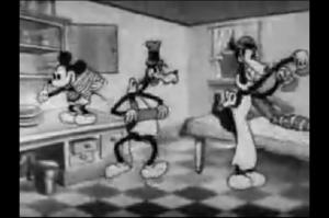 パーティー料理を作るミッキー、ホーレス、グーフィー