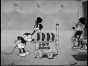ダンサーのミニーとホットドッグ売りのミッキー