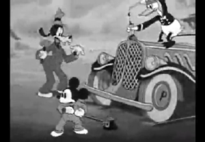 自動車を修理するミッキー、ドナルド、グーフィー