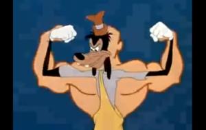 筋肉をつけようとするグーフィー