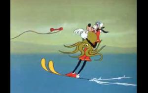 タコを巻き込み水上スキーをするグーフィー