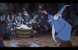 魔法を使い食器を洗うマーリン