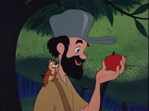 「リンゴ作りのジョニー」より、リンゴを見つめるジョニー。