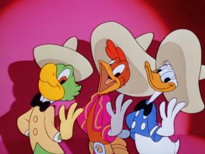 仲良く歌うドナルド、ホセ、パンチート(三人の騎士)