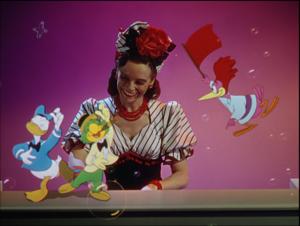 「サンバは楽し」よりエセル・スミスの演奏に合わせて踊るドナルドとホセ、いたずらをするアラクアン。