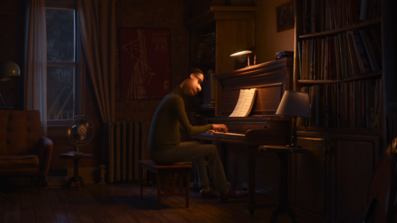 ピアノを弾くジョー